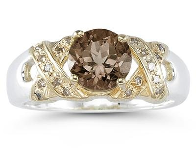 1.3ct Smokey Quartz & Diamond Ring in 14k Yellow Gold and Silver