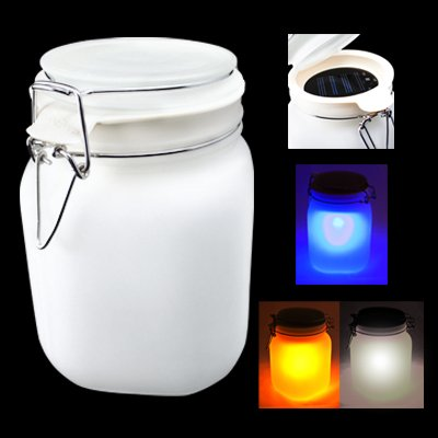 Frosted Glass Solar Fireflies Jar Lamp - Blue / Yellow Light