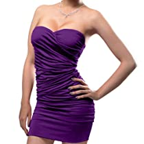 West Blvd Cocktail Formal Evening Party Bandage Mini Satin Dress medium Purple
