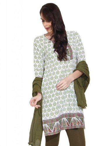 Alayna Women's Cotton Peacock And Paisley Printed Green Kurta - L (multicolor)