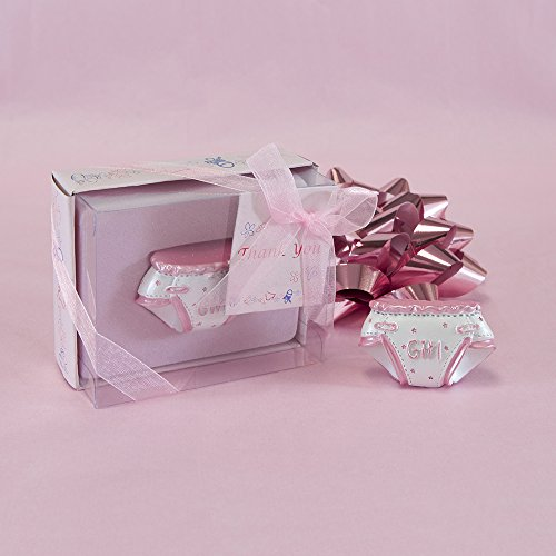 "Lunaura Baby Keepsake - Set of 12 ""Girl"" Diaper With Thank You Card Favors - Pink"