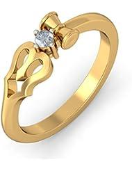 BlueStone Yellow Gold And Diamond Divine Trishool Ring For Her