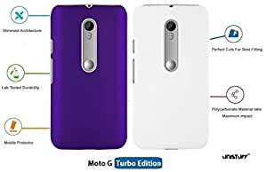 For Moto G Turbo Edition[COMBO OFFER]: Unistuff™ Matte Finish Hard Case Back Cover for Moto G Turbo Edition [SLIM FIT][FREE SHIPPING] (Purple, White)