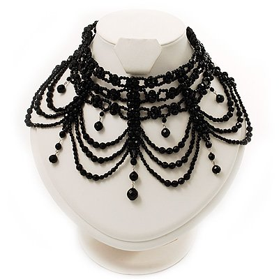 Victorian Black Beaded Choker Adult