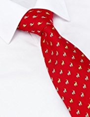 Sartorial Made in Italy Pure Silk Small Elephant Print Tie