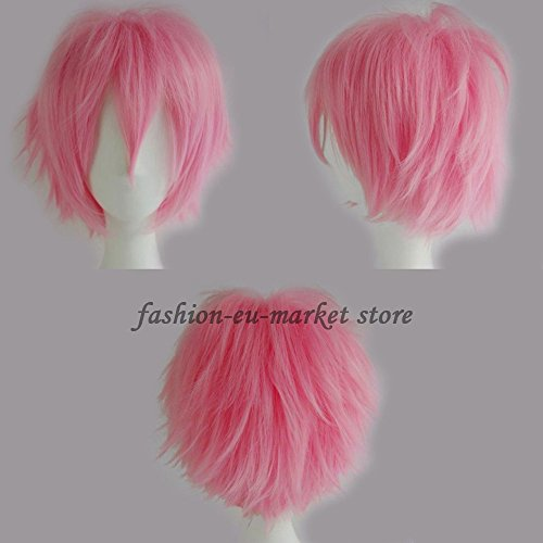 Unisex Short Wig Cosplay Full Wigs Curly Hair Tail Haircut Costume Wigs Fancy Dress Costume Party Christmas Halloween (dark (Adult Short Pink Wig)