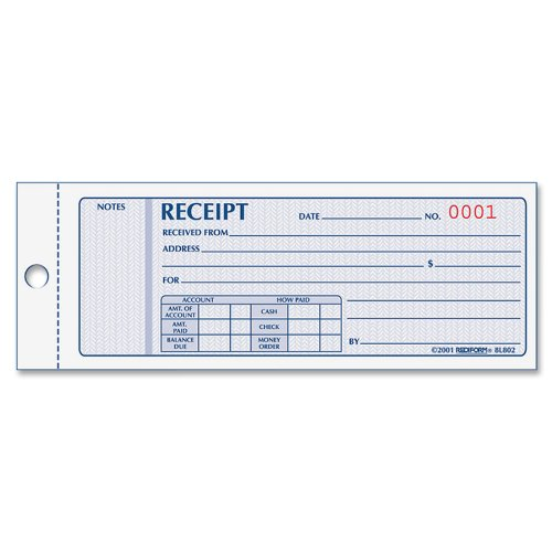 Rediform Money Receipt Book, 2.75 x 7.625 Inches, 100 Pages (8L800)