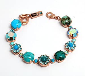 Amaro Jewelry Studio 'Ocean' Collection 24K Rose Gold Plated Bracelet Crafted with Flower Details, Turquoise Howlite Chinese, Blue Howlite, Chrysocolla, Turquoise and Swarovski Crystals; 6.3 inches
