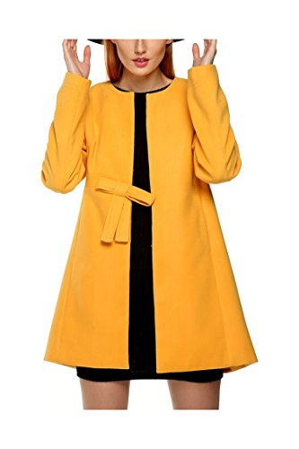 Zeagoo Winter Women Fashion Wool Blend Collarless Trench Parka Coat Outwear With Bowknot