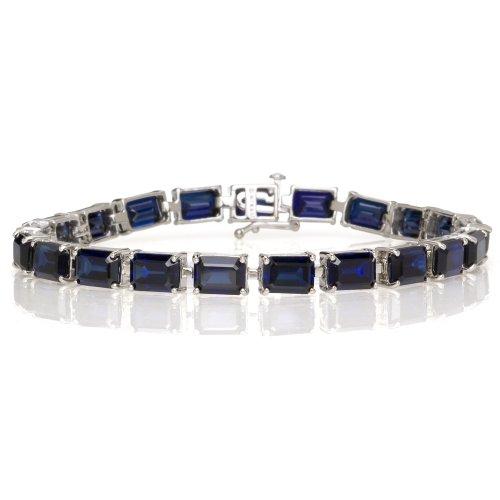 10k White Gold Emerald Cut Created Sapphire Bracelet, 7