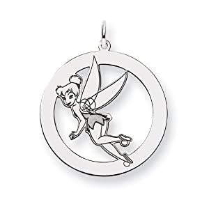 Sterling Silver Disney Tinker Bell Round Charm - JewelryWeb