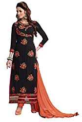 Women Icon Presents Embroidered Georgette Dress Material(Black,Orange)
