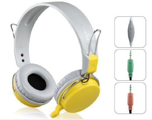 Yueba Yb-102 3.5 Mm On-Ear Stereo Headphones With Microphone & 2.0 M Cable (Yellow)