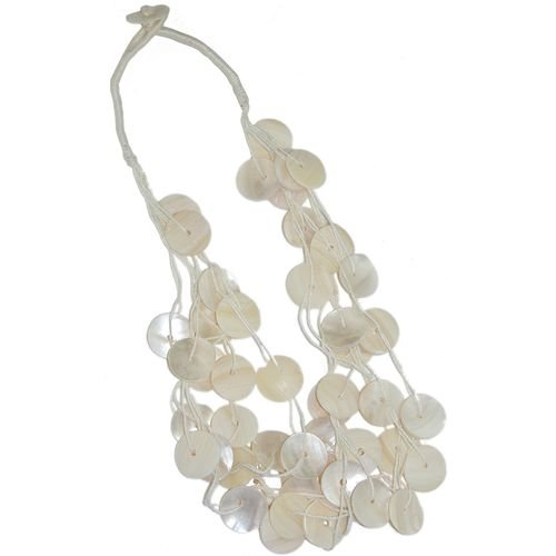 6 Row Mother Of Pearl Button Necklace In Ivory