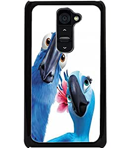 ColourCraft Love Parrots Design Back Case Cover for LG G2