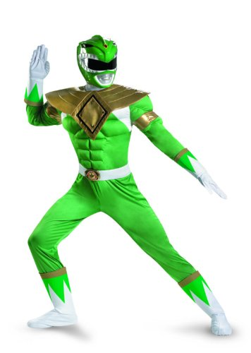 Disguise Sabans Mighty Morphin Power Rangers Green Ranger Classic Muscle Mens Adult Costume, Green/White, XX-Large/50-52