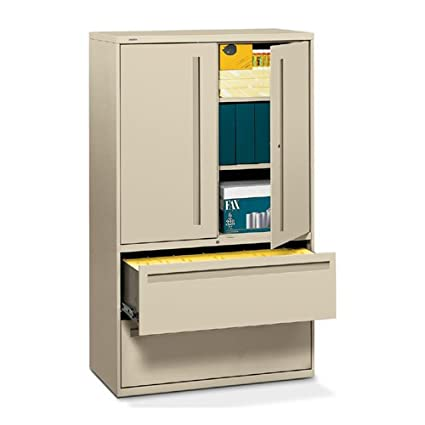 700 Series Lateral File w/Storage Cabinet, 42w x 19-1/4d, Putty