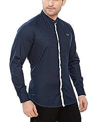 Davos Men's Cotton Casual Shirt(DS-03-Navy_Small)
