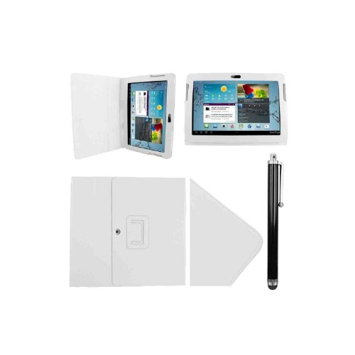 Samsung P5100 P5110 Tasche Hülle Schutzhülle Case Cover for Samsung Galaxy Tab 2 10.1 P5100 P5110 mit Ständer(PU Leder)++ Displayschutzfolie + Stylus (Weiß/White)