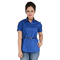 ELLE ET LUI POLKA DOT PRINTED SHORT SLEEVE SHIRT (Medium, ROYAL BLUE)