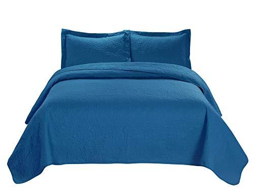 3 Piece JULES Ultrasonic Embossed Bedspread Set-Oversized Coverlet 100x106in, 118x106in (Queen,Turquoise) Queen