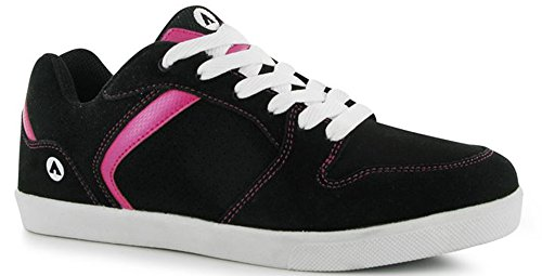 womens-ladies-happy-skate-leather-shoes-laced-trainers-7-41-black-pink