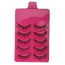 Generic 5 Pairs Popular Long Cross False Eyelashes Soft Fiber Eye Lashes - purple