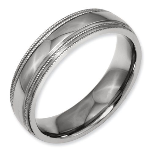 Titanium Grooved and Beaded Edge 6mm Polished Band Size 10
