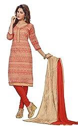 Jiya Presents Chanderi Dress Material(Beige,Red)