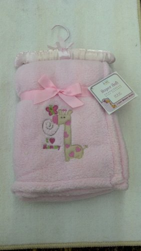 I LOVE MOMMY SUPER ULTRA SOFT EMBROIDERED PINK BABY Blanket