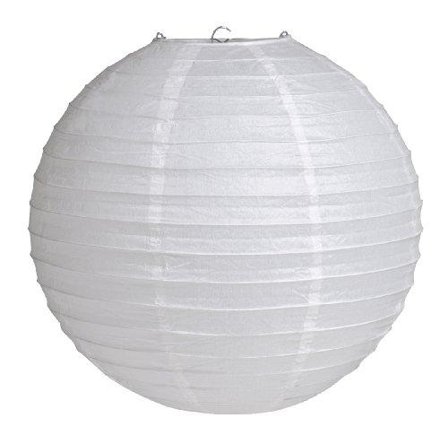 "Creative Converting 12"" Round Hanging Paper Lantern, White - 1"