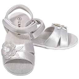 L\'Amour Baby Girls 4 Silver Flower Spring Summer Sandals Shoes