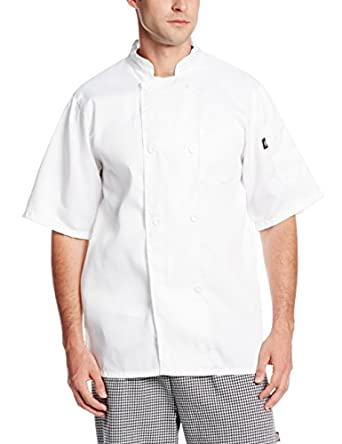Dickies Occupational Workwear DCP124WHT M Spun Polyester 8-Button Short Sleeve Chef Coat with Reversible Closure, Medium, White