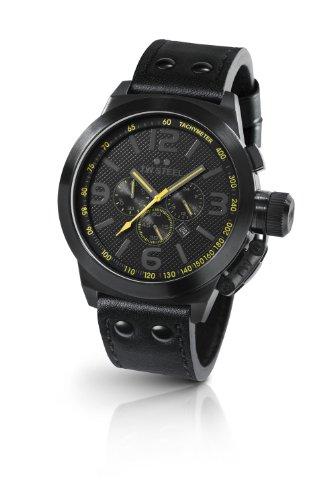 TW Steel Canteen Style TW-900 - Reloj cronógrafo de cuarzo para mujer, correa de cuero color negro (cronómetro)