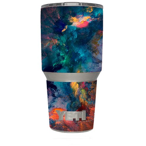 Skin Decal Vinyl Wrap (6-piece kit) for Yeti 30 oz Rambler Tumbler Cup / color storm watercolors
