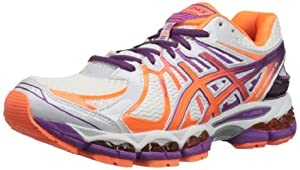 ASICS Women's Gel-Nimbus 15 NYC Running Shoe,White/Electric Orange/Orchid,8 M US