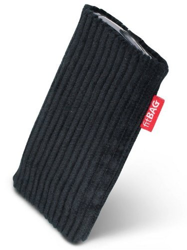 Fitbag Retro Black Custom Tailored Sleeve For Acer Liquid E3. Fine Corduroy Pouch With Integrated Microfibre Lining For Display Cleaning