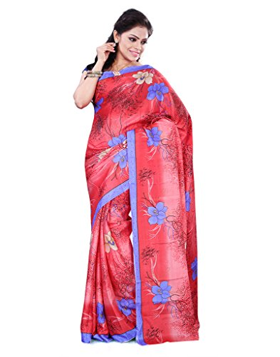 FineFab Red & Blue Crepe Daily Wear Printed Sarees With Blouse Piece