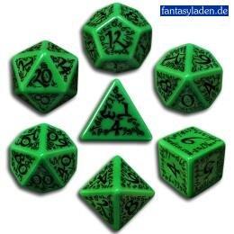 Q-Workshop Polyhedral 7-Die Set: Carved Elven Elvish Dice Set (Green And Black)