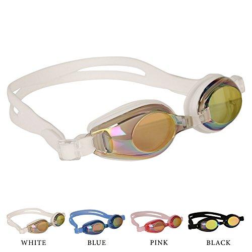 Kinder Schwimmbrillen, rutschfest, wasserdicht, lecksicher, qualitativ hochwertig, farbige Silikon-Kopfriemen, vernebeln nicht, farbige Gläser, einstellbarer Nasensteg, beinhaltet kostenlose Ohrstöpsel & eine attraktive Tragetasche