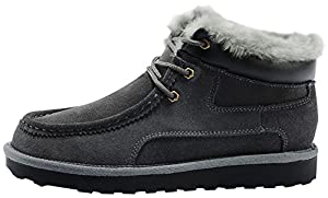 Rock Me Men's Thicker Wool Leather Flat Waterproof Ankle Snow Boots III