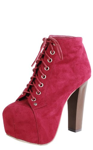Suede Wooden Heel Booties RED