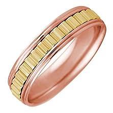 buy 14K Rose Gold Gear Pattern Men'S Wedding Band (5Mm) Size-9.5