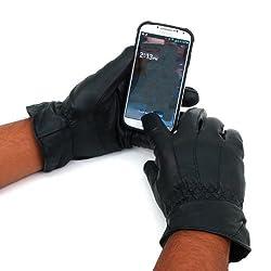 Alpine Swiss Men's Leather Touch Screen Texting Warm Winter Gloves, Black, Medium