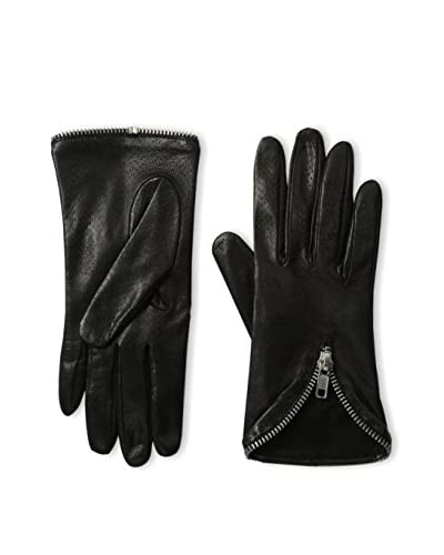 Portolano Women's Perforated Leather Gloves with Zipper Trim