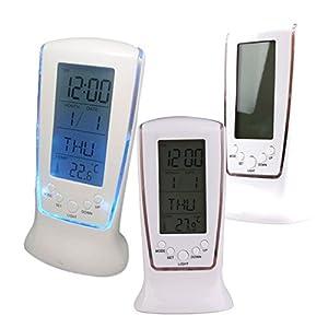 Vktech Wooden Clock Digital LED Desktop Alarm Clock (Blue)