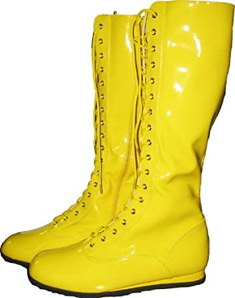Yellow Wrestling Costume Boots (Small)