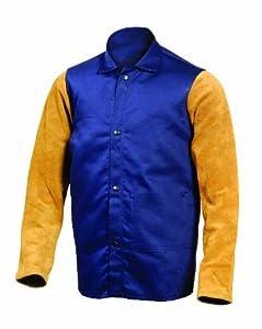 Steiner 12603 30-Inch Jacket, Weldlite Plus Navy Cotton, Rust Cowhide Sleeves, Extra Large
