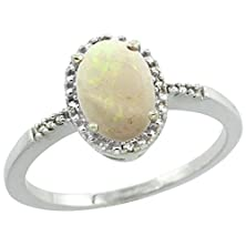 buy Sterling Silver Diamond Natural Opal Ring Oval 8X6 Mm, Size 8