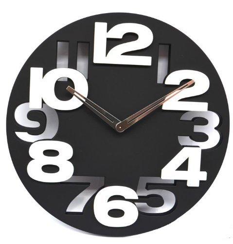3D Big Digit Modern Contemporary Kitchen Office Home Decor Wall Clock Black